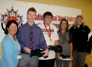 SSC President Sue Keenan (far left) and Stamford Collegiate's Christine Baillie (far right).